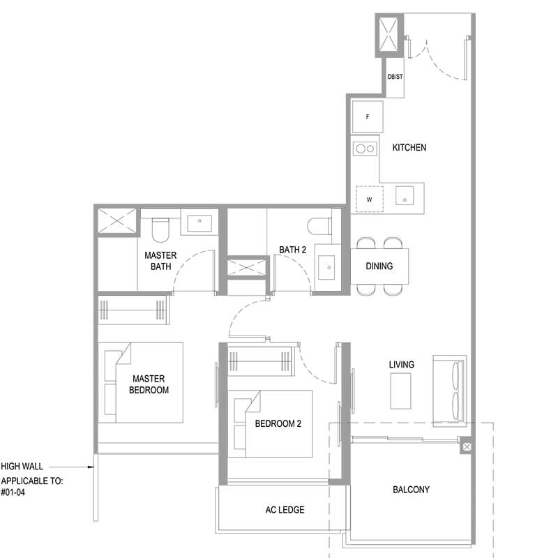 2 Bedroom Deluxe Type B12 743sqft