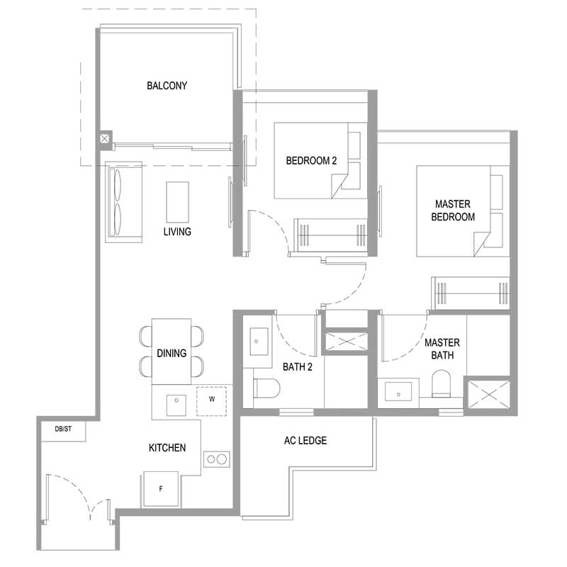 2 Bedroom Deluxe Type B7 732sqft